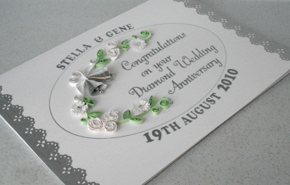 Th anniversary card diamond wedding paper quilling
