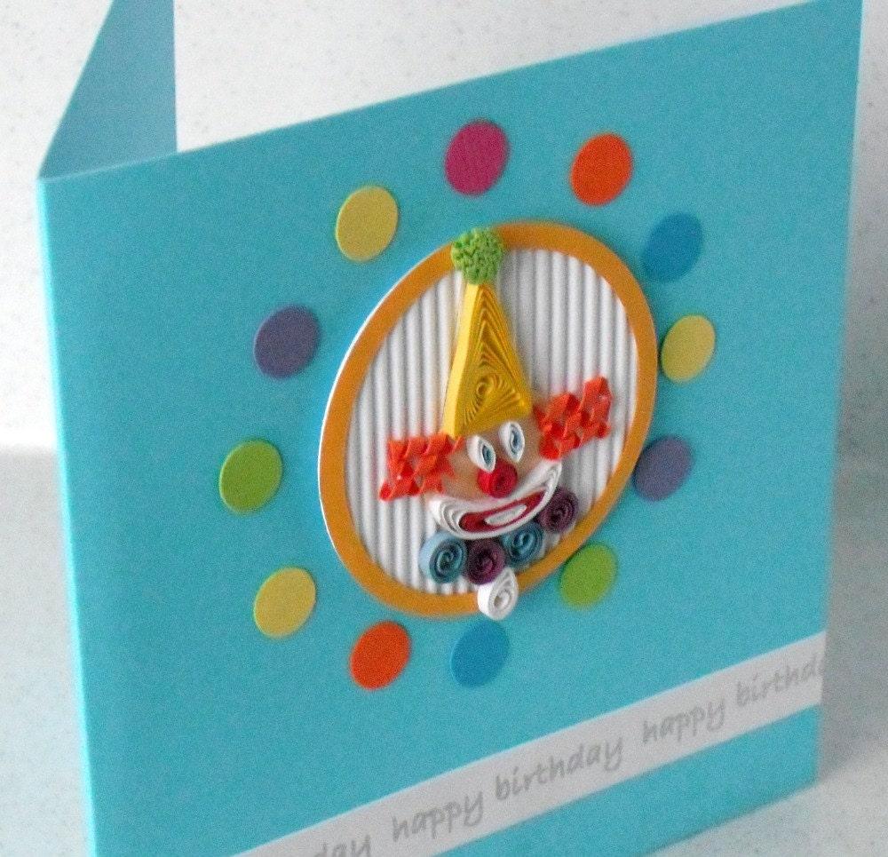 Children's Quilled Clown Birthday Card Paper Quilling