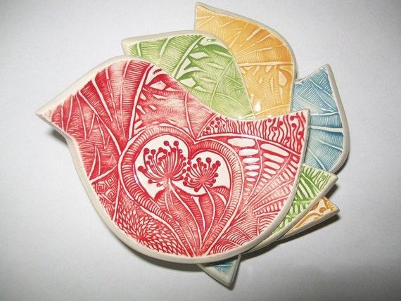 Hand built ceramic bird tea bag or candle holders set of 4