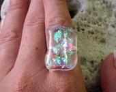 CLEARLY FABULOUS dichroic glass cocktail ring