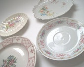 4 Vintage Floral China Plates Shabby Chic