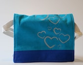 Messenger Bag, Blue and Turquoise with Metallic Hearts