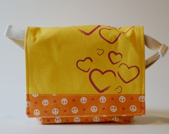 Messenger Bag, Yellow and Orange with Metallic Hearts