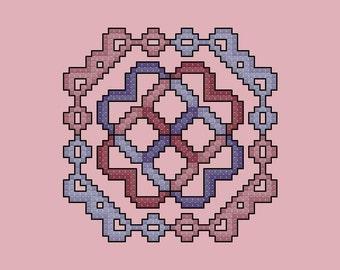 Violet and Mauve Quilt Square cross stitch pattern PDF Digital Download