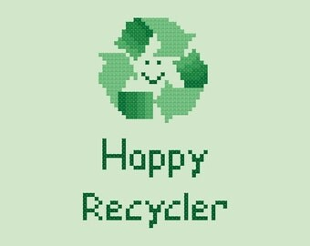 Happy Recycler Easy Cross Stitch Pattern PDF Digital Download
