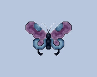 Purple and Blue Butterfly Cross Stitch Pattern PDF Digital Download