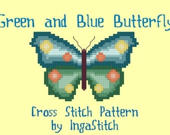 Green and Blue Butterfly Cross Stitch Pattern PDF Digital Download