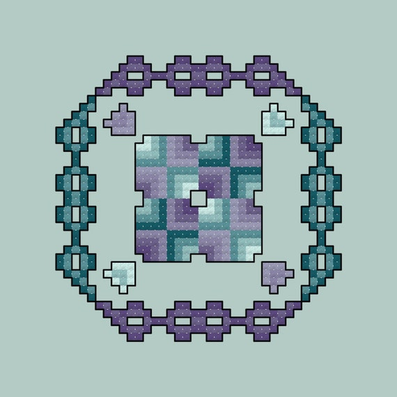 Quilt Square Cross Stitch Pattern Purple and Teal PDF Digital Download