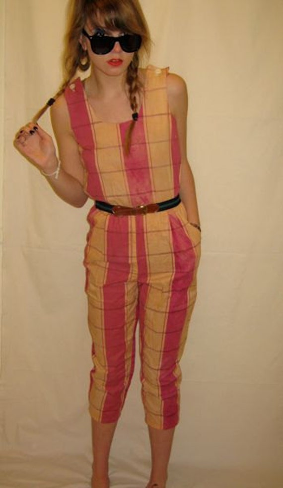 Hand Dyed and Screen Printed Vintage Jump Suit One Piece