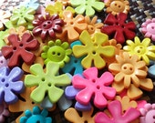 Cute Flower Buttons - Assorted shape and colour - Bright Tone 1 - 30 buttons Only 3.45 USD