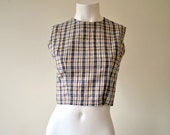 Girl Next Door Vintage 1950s Playful Fitted Plaid Button Back Crop Top  v