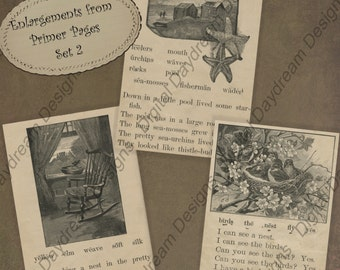 Instant Download Printable Digital Collage Sheet 2.5 x 3.5 ATC ACEO size - Primer Pages Set 1
