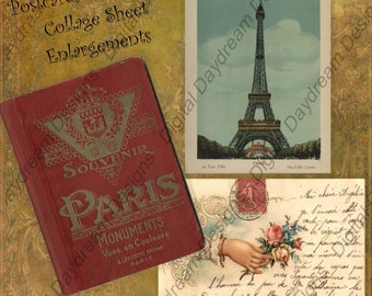 Instant Download Printable Collage Sheet - ATC ACEO 2.5 x 3.5 size - Postcards from Paris