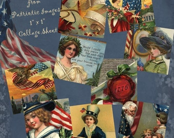 Instant Download Digital Collage Sheet 1 x 1 Inchies size - Patriotic Images