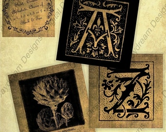 Instant Download Printable Collage Sheet Ornate Alphabet, Black and Tan, 1 x 1, 1.5 x 1.5 or 2 x 2 size