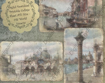 Instant Download Printable Collage Sheet 2.5 x 3.5 ATC ACEO size - Old World Venezia