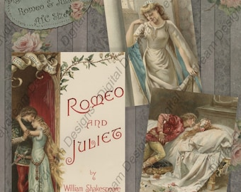 Instant Download Printable Collage Sheet - Romeo and Juliet, ATC ACEO 2.5 x 3.5 size