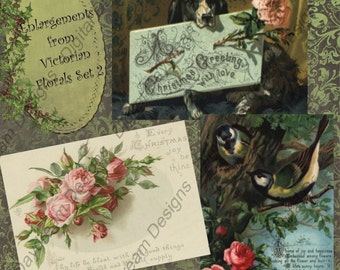 Instant Download Printable Digital Collage Sheet - ATC ACEO 2.5 x 3.5 size - Christmas - Victorian Florals Set 2