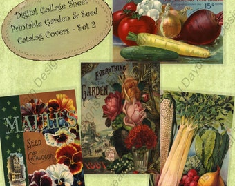 Instant Download Printable Garden Seed Catalog Cover Collage Sheet Set 2