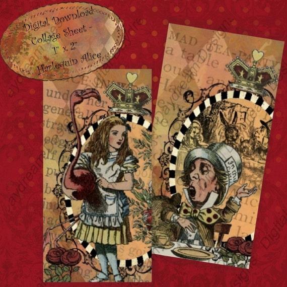 Instant Download Printable Collage Sheet 1 x 2 size - Harlequin Alice in Wonderland