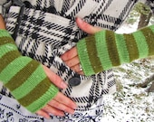 Striped fingerless glove arm warmers bright green colors fun and warm winter accessory