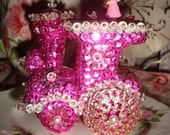 Hot Pink Sequin Train Christmas Ornament     Retro-SHABBY CHIC -Vintage-handmade