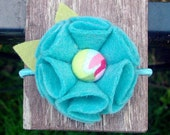 Turquoise Felt Flower Ponytail Holder - Fabric Button Center in Light and Bright Pink, Lime and Turquoise