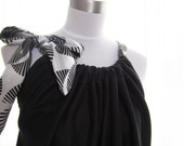 Black Spring Summer Draped Tunic Tank with Black and White Silk Bow One of a Kind