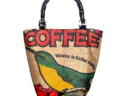 Made to Order - Hawaiian Bird Recycled Coffee Bag Purse with Bamboo Handles