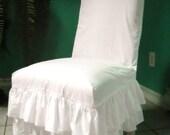 White Ruffled Chair Slipcover