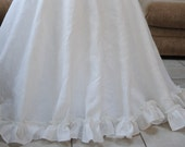 White Linen Table Cover with Ruffle Trim