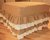 Linen Ruffled Ottoman Cover
