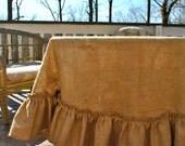 Burlap Ruffle Edge Tablecloth