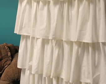 Cream Ruffled Curtains