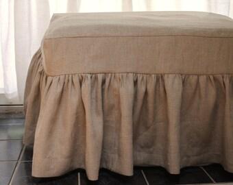 Linen Ottoman Cover