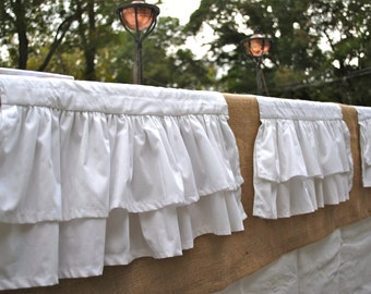 White Cotton Ruffled Table Runner