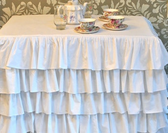 White Ruffle Tablecloth