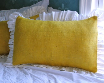Yellow Burlap Pillow