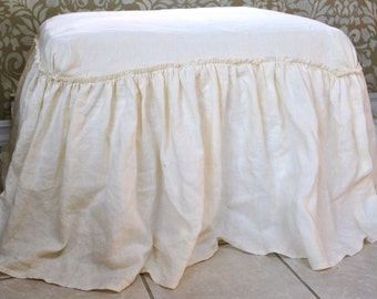 Linen Gathered Skirt Ottoman Cover