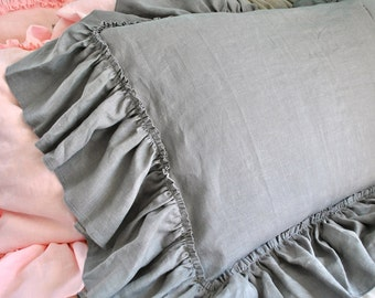 Large Floppy Ruffle Linen Pillow