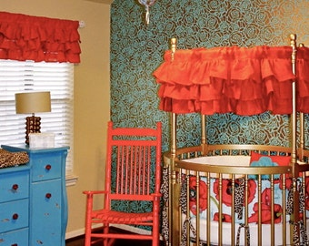 Round Crib Red Burlap Valance