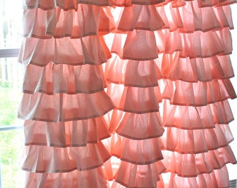 Ruffled Pink Curtain