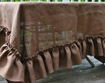 Brown Burlap Ruffle Edge Tablecloth