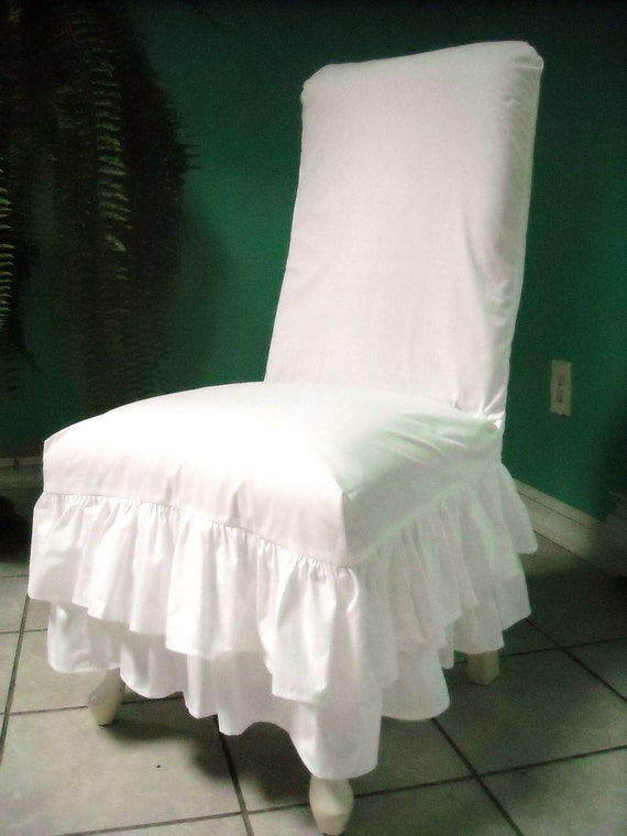 items similar to white ruffled chair slipcover on etsy. Black Bedroom Furniture Sets. Home Design Ideas