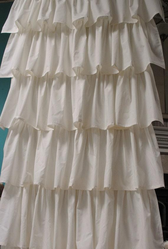 Cream Ruffled Curtains