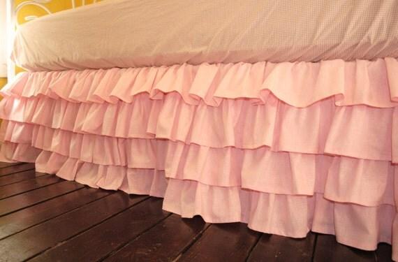 Pink Ruffled Bed Skirt