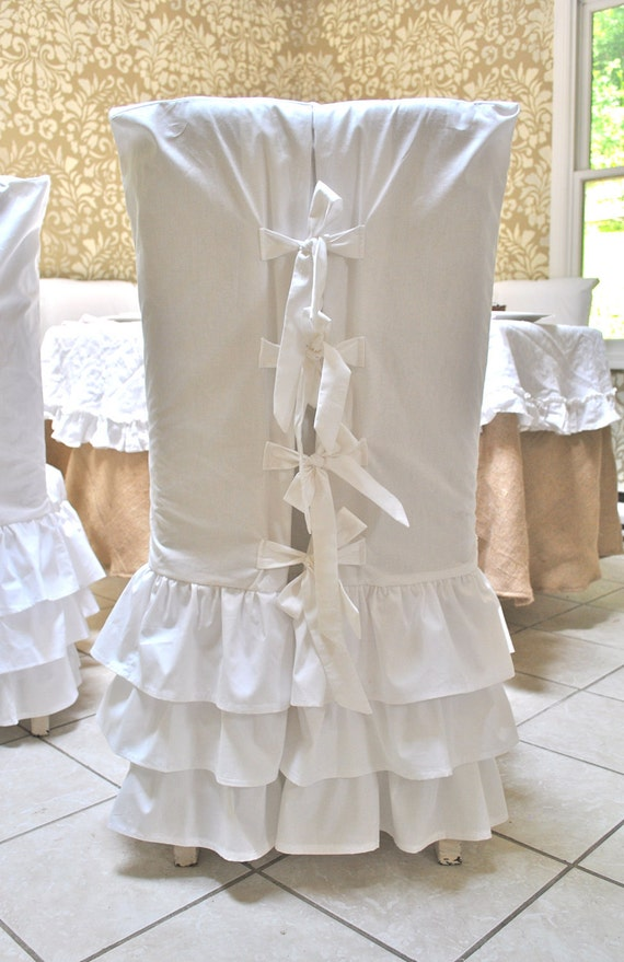 White Ruffle Chair Slipcovers