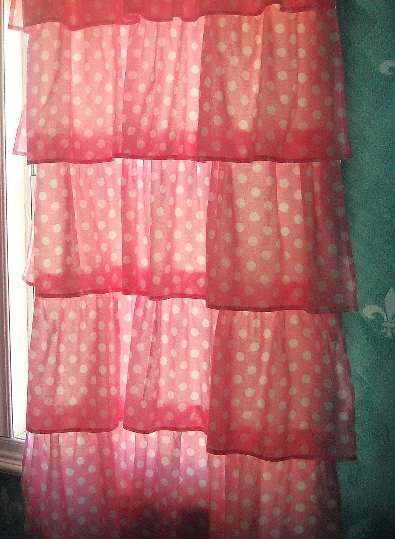 Pink Polka Dot Ruffled Curtain