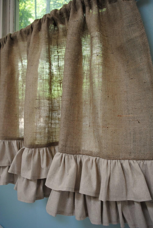 Burlap Ruffled Cafe Curtain
