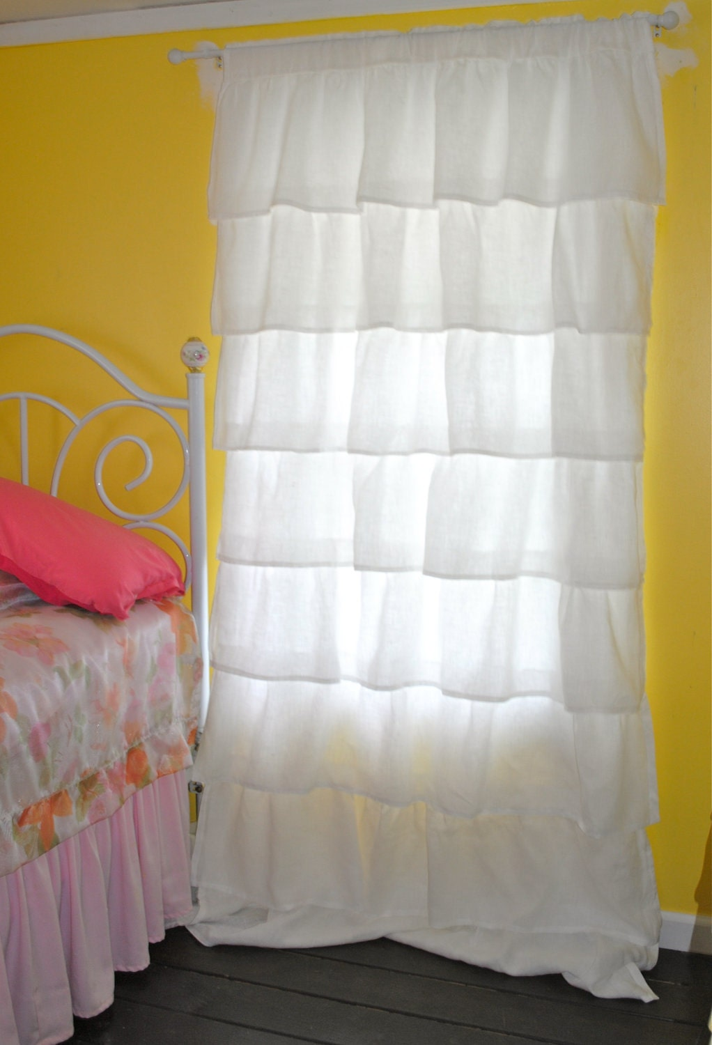 White Ruffled Linen Curtains by PaulaAndErika on Etsy Ruffled Curtains